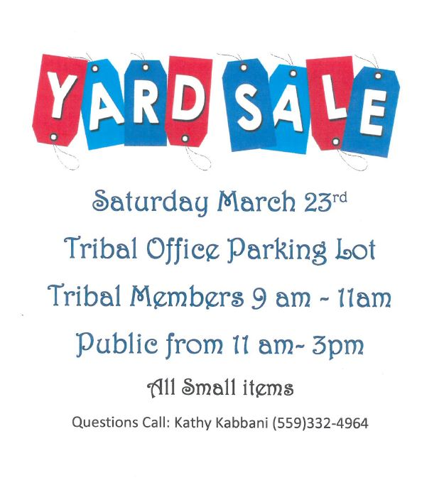 Tribal Office Yard Sale @ Tribal Office