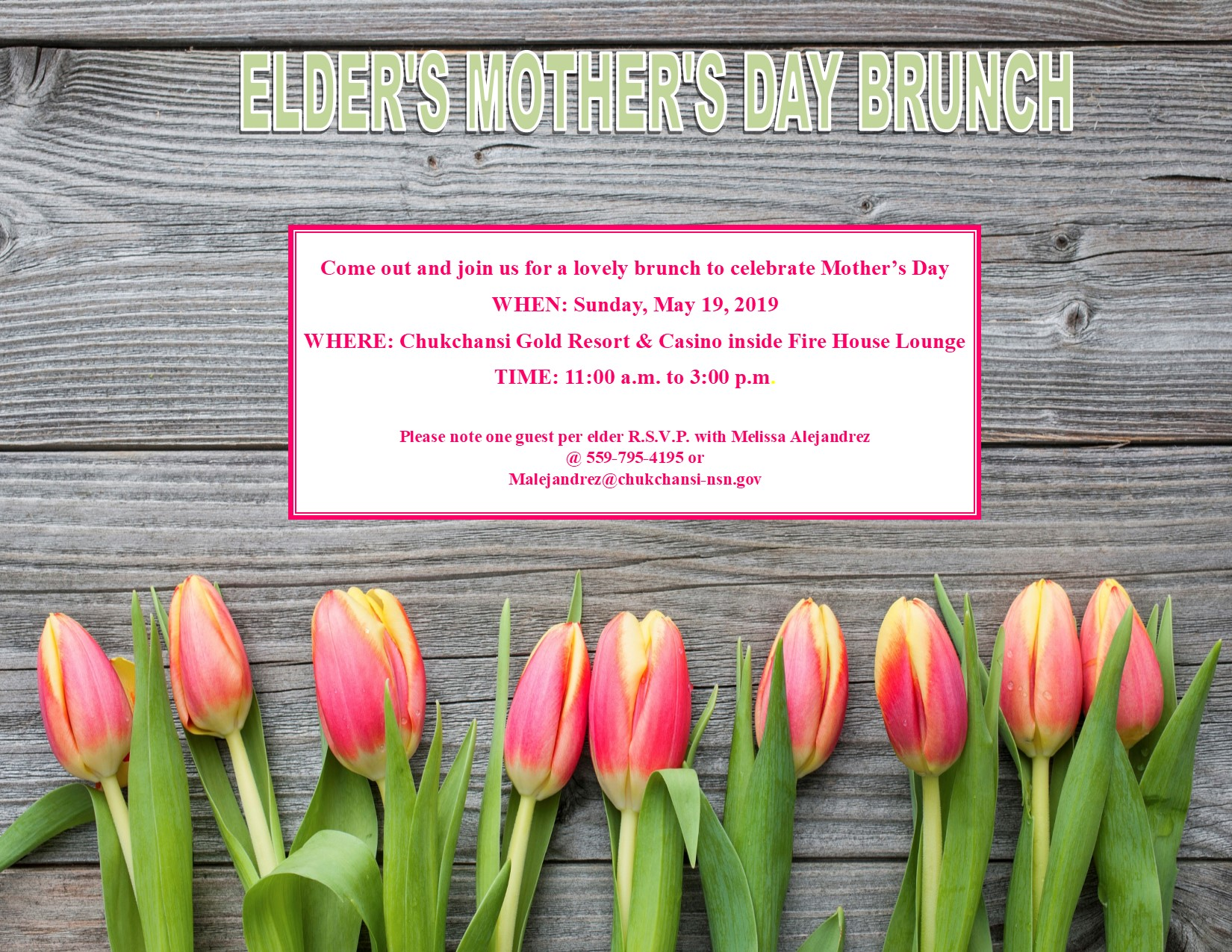 Tribal Elder's Mother's Day Brunch @ Elders Mother's Day Brunch