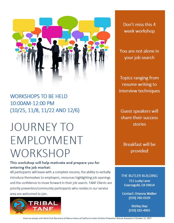 Journey to Employment Coarsegold Flyer @ Butler Building