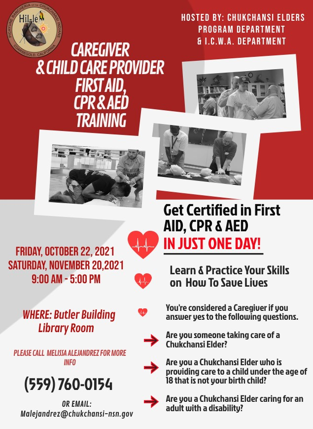 Caregiver & Child Care Provider First Aid CPR & AED Training @ Butler Building